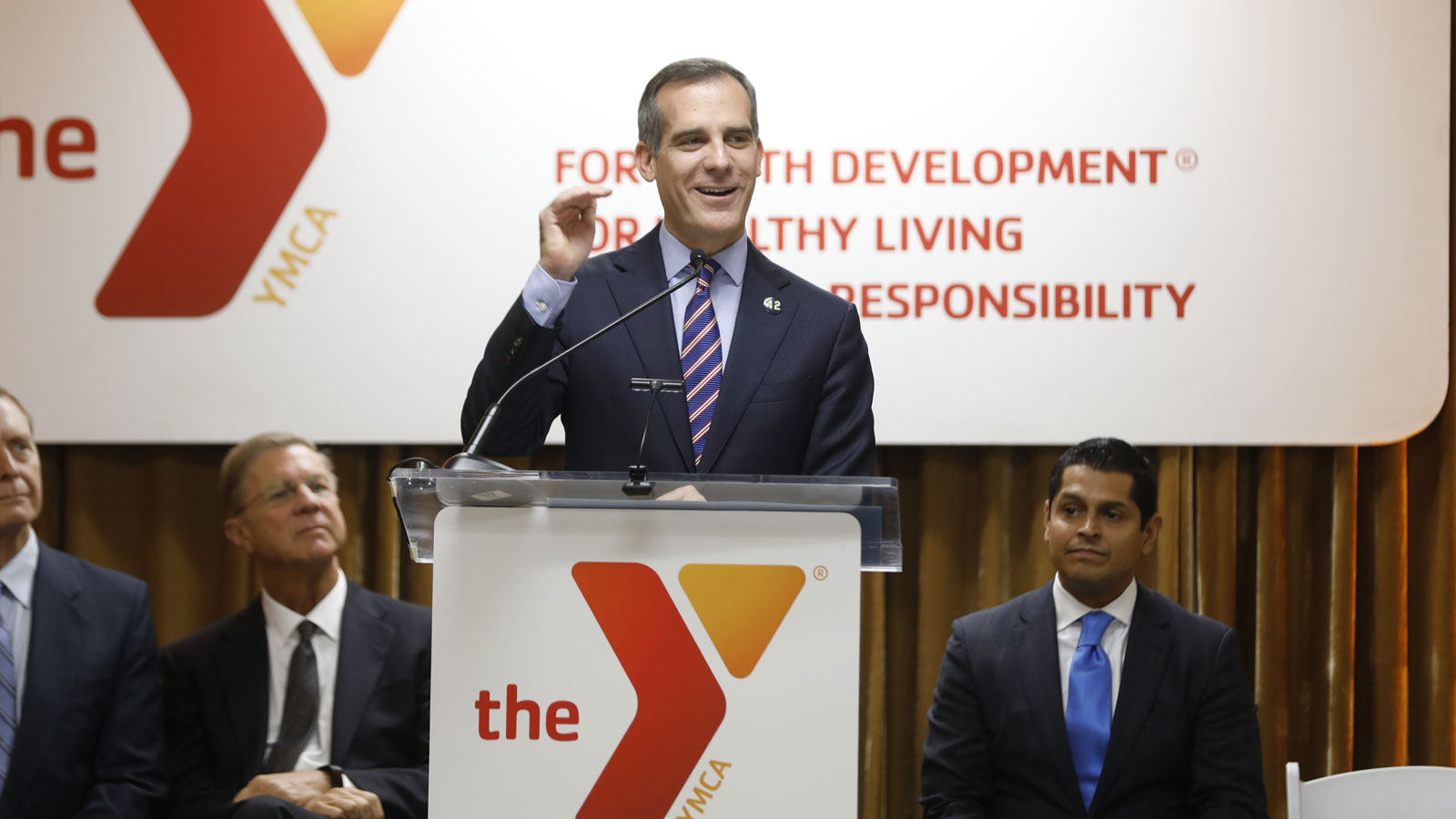 Mayor Eric Garcetti announces Achieve LA, a partnership between Cal State LA and the YMCA of Metropolitan Los Angeles
