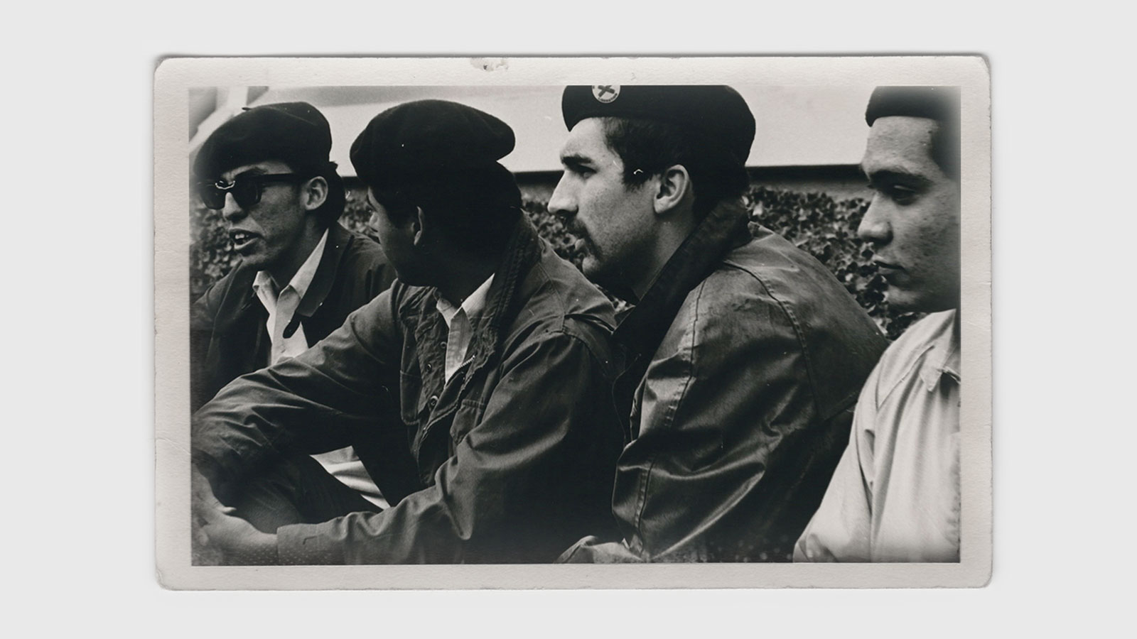 Group of four Chicano students wearing brown berets (circa 1968)