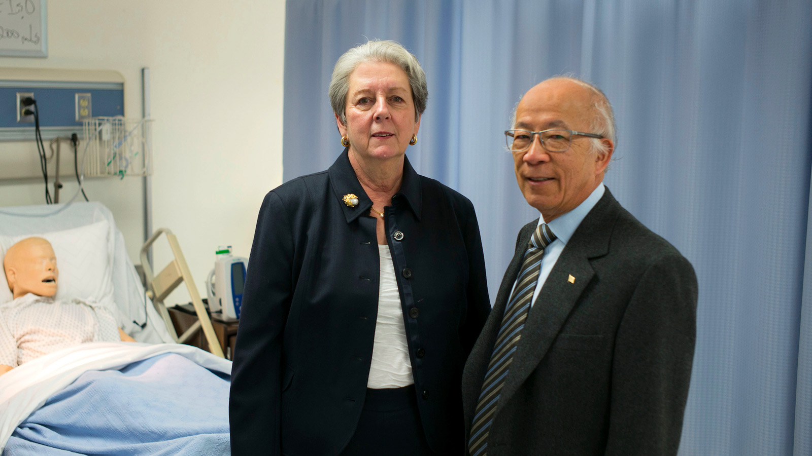Patricia A. Chin and Dr. William Chin in the Nursing Simulation Lab