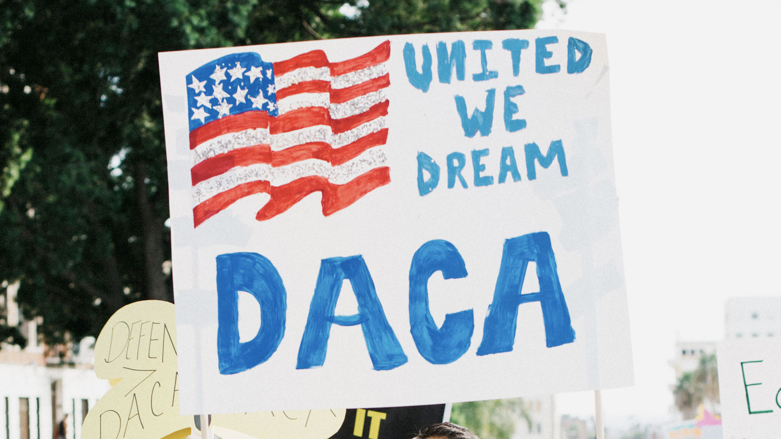 Signs supporting DACA.