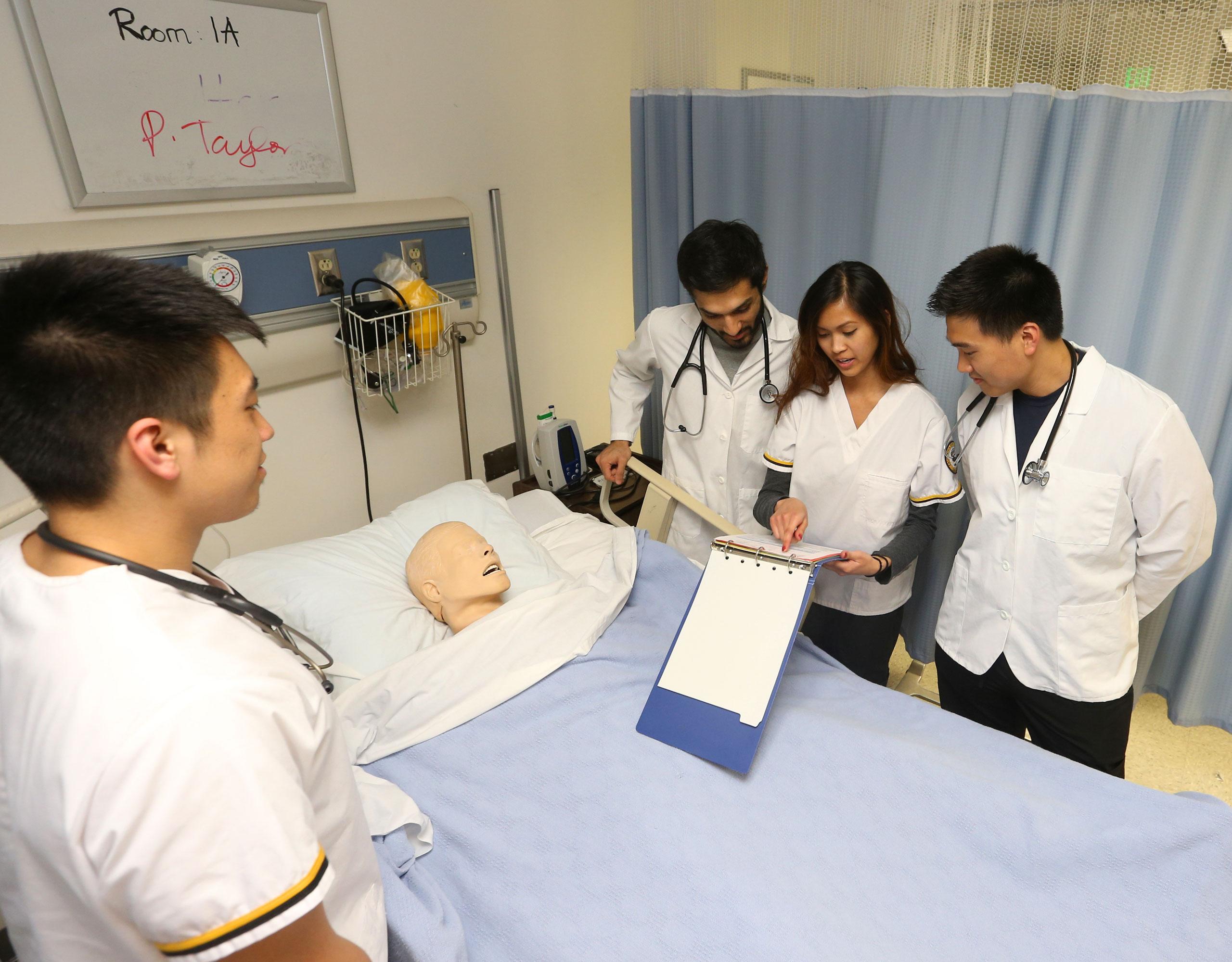 Nursing students in nursing lab